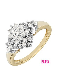 love-diamond-9ct-yellownbspgold-50-point-white-diamond-marquis-cluster-ring