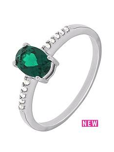 love-diamond-sterlingnbspsilver-diamond-set-created-emerald-ring