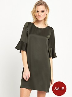 river-island-swing-dress-with-flute-sleeves-khaki