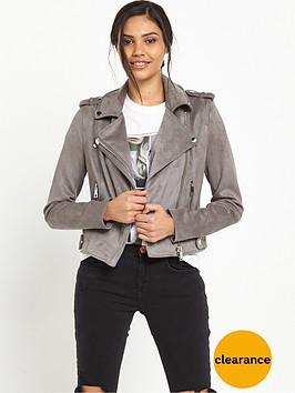 river-island-bonded-suedette-biker-jacket-grey
