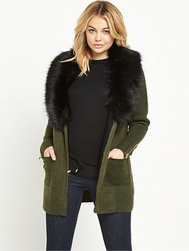 river-island-faux-fur-collar-cardigan