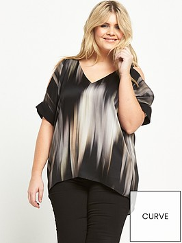 ri-plus-stripe-cold-shoulder-top-black