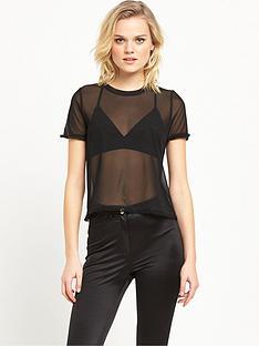 river-island-nbspfrill-mesh-t-shirt-black