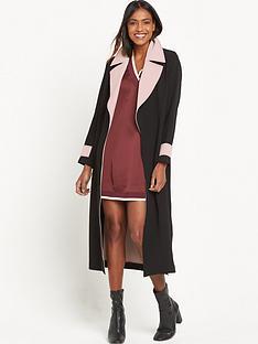 ri-studio-contrast-trim-side-split-coat-black