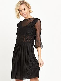 river-island-lace-pleat-dress-black