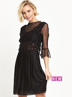 river-island-lace-pleat-dress-black