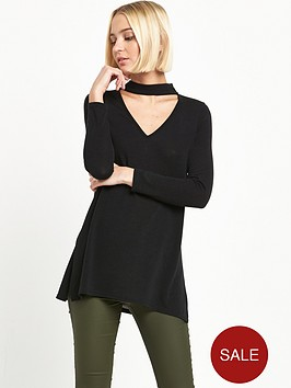 river-island-black-jumper-with-choker