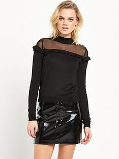 river-island-high-neck-jumper-with-mesh-frill-detail-black