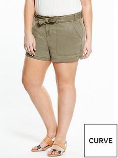 v-by-very-curve-curve-tie-waist-tencel-short-khaki