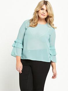 alice-you-frill-sleeve-sheer-blouse-blue