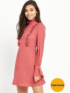 glamorous-ruffle-long-sleeve-skater-dress-rose
