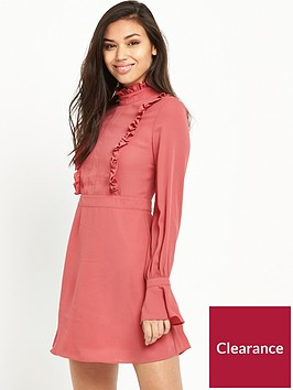 glamorous-ruffle-long-sleeve-skater-dress-rose