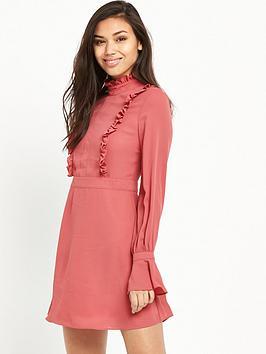 Glamorous Ruffle Long Sleeve Skater Dress - Rose
