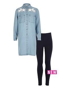 river-island-girls-lace-detail-denim-shirt-and-leggings-set