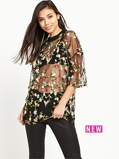 glamorous-floral-net-t-shirt