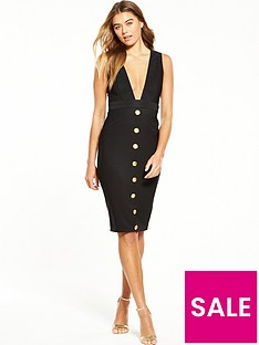 rare-button-front-plunge-midi-dress-black
