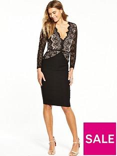 rare-lace-cut-out-long-sleeve-midi-dress-black