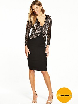 rare-lace-cut-out-long-sleeve-midi-dress-black