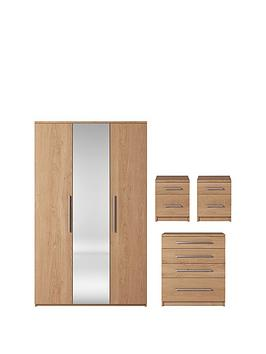 Prague 4-Piece Package - 3 Door Mirrored Wardrobe, 4 Drawer Chest And 2 Bedside Cabinets thumbnail