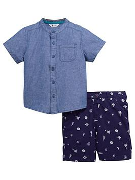mini-v-by-very-boys-grandad-shirt-and-printed-short-outfit