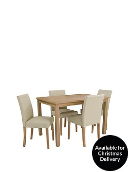 Primo 120 cm Dining Table   4 Faux Leather Chairs   very co uk. Dining Room Sets Co Uk. Home Design Ideas