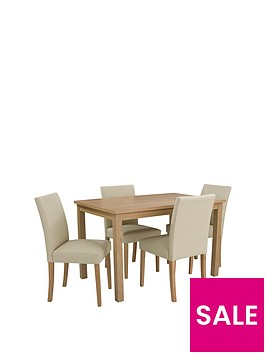 Primo 120 Cm Dining Table 4 Faux Leather Chairs