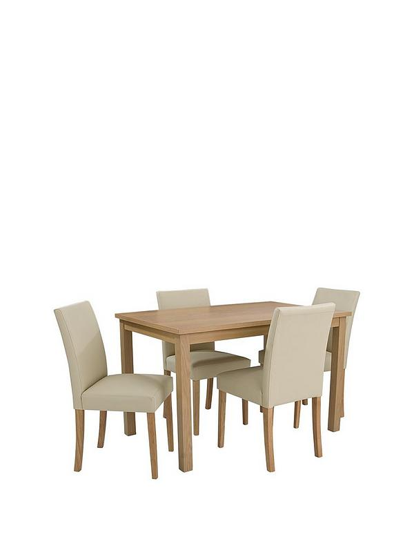 primo 120 cm dining table 4 faux leather chairs very co uk rh very co uk