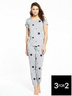 v-by-very-star-print-pyjama-set