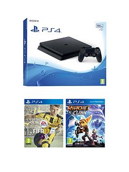 playstation-4-slim-500gb-console-with-fifa-17-and-ratchet-amp-clank-plus-optional-12-months-playstation-network-andor-an-extra-controller