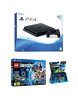playstation-4-slim-500gb-black-console-with-lego-dimensions-starter-pack-benny-fun-pack-and-optional-extra-controller-andor-12-months-playstation-network