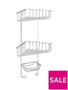 croydex-three-tier-corner-shower-basket-with-hooks