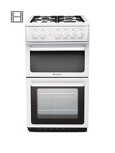 Hotpoint Newstyle HAG51P 50cm Twin Cavity Gas Cooker with FSD - White