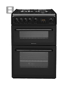 Hotpoint Newstyle HAG60K 60cm Double Oven Gas Cooker with FSD - Black