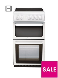 hotpoint-newstyle-hae51ps-50cm-twin-cavity-electric-cooker-with-ceramic-hob-white