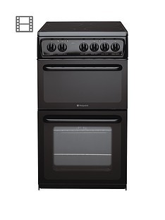 Hotpoint HAE51KS 50cm Twin Cavity Electric Cooker - Black