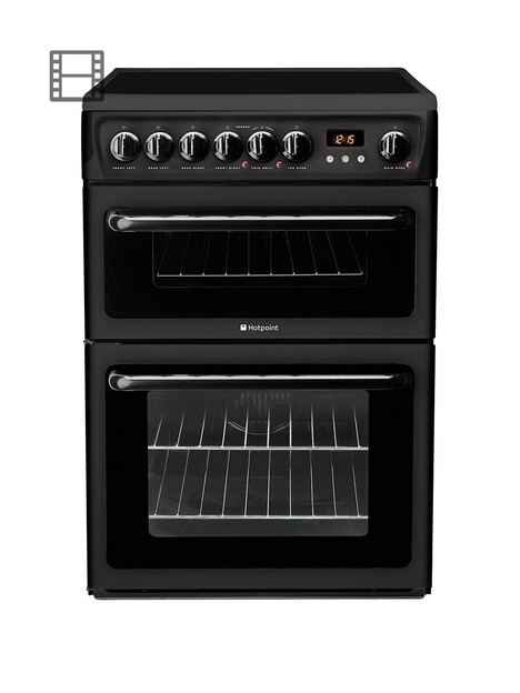 hotpoint-hae60ks-60-cm-ceramic-hob-double-oven-electric-cooker-black