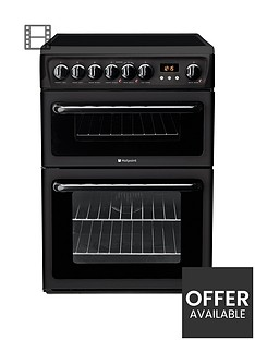 hotpoint-newstylenbsphae60knbsp60cmnbspdouble-oven-electric-cooker-with-ceramic-hob-black