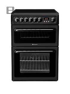 Hotpoint Newstyle HAE60KS 60cm Double Oven Electric Cooker with Ceramic Hob - Black