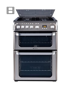 hotpoint-hug61x-60cm-double-oven-gas-cooker-stainless-steel