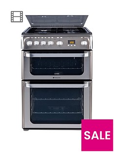 Hotpoint UltimaHUG61X 60cm Double Oven Gas Cooker with FSD- Stainless Steel