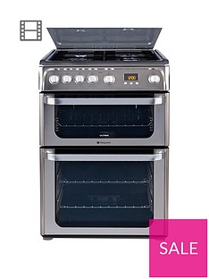 hotpoint-ultimanbsphug61x-60cm-double-oven-gas-cooker-with-fsdnbsp--stainless-steel