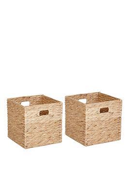 set-of-2-water-hyacinth-storage-cubes