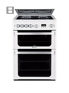 Hotpoint Ultima HUG61P 60cm Double Oven Gas Cooker with FSD - White