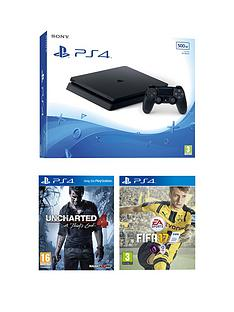 playstation-4-slim-500gb-black-slim-console-with-fifa-17-and-uncharted-4-plus-optional-extra-controller-andor-12-months-psn