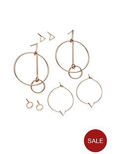 v-by-very-4-pack-rose-gold-shaped-earrings