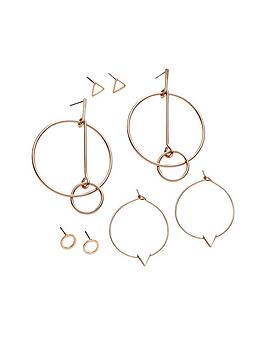 v-by-very-4-pack-rose-gold-shaped-earrings
