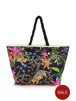 V by Very Floral Leopard Beach Bag | very.co.uk