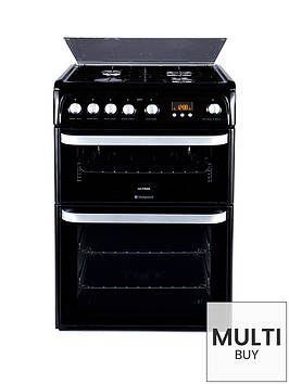 hotpoint-hug61k-60cm-double-oven-gas-cooker-black