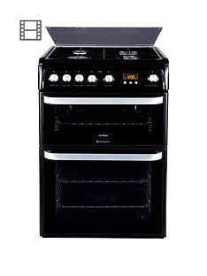 Hotpoint Ultima HUG61K 60cm Double Oven Gas Cooker with FSD - Black