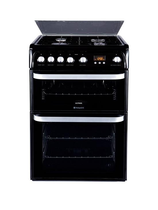 Ultima HUG61K 60cm Double Oven Gas Cooker with FSD - Black